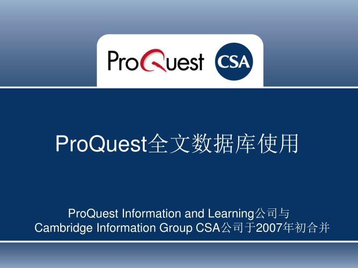 proquest information and learning cambridge information group csa 2007 n.
