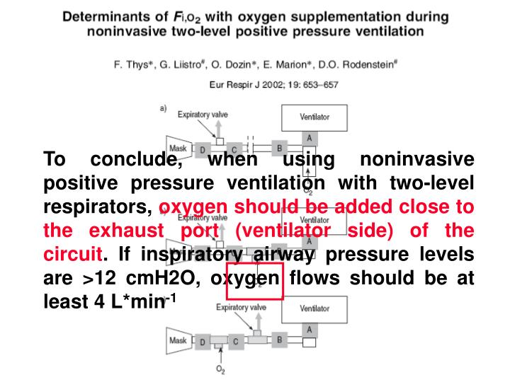 To conclude, when using noninvasive positive pressure ventilation with two-level respirators,