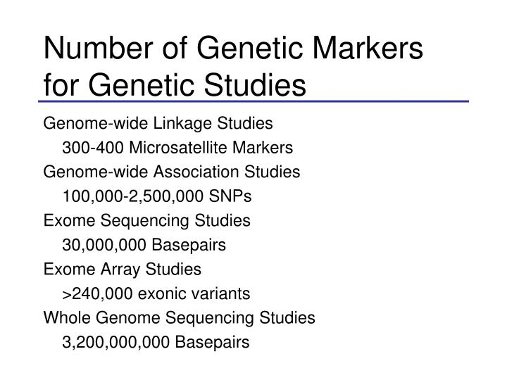 Number of Genetic Markers for Genetic Studies