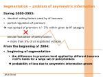 segmentation problem of asymmetric information1