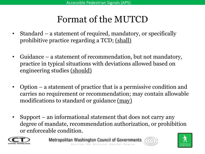 Format of the MUTCD