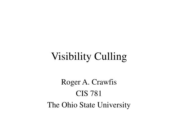 visibility culling n.