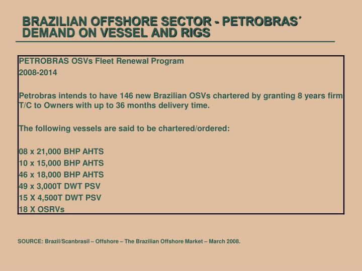 BRAZILIAN OFFSHORE SECTOR - PETROBRAS´ DEMAND ON VESSEL AND RIGS