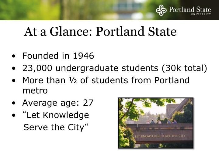 At a glance portland state