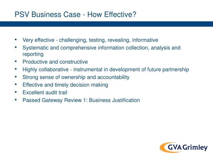 PSV Business Case - How Effective?