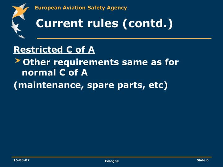 Current rules (contd.)