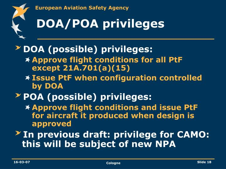 DOA/POA privileges