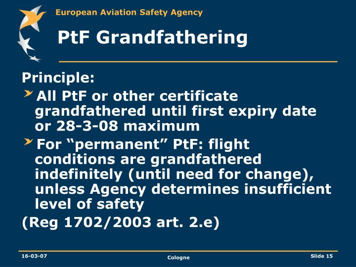 PtF Grandfathering