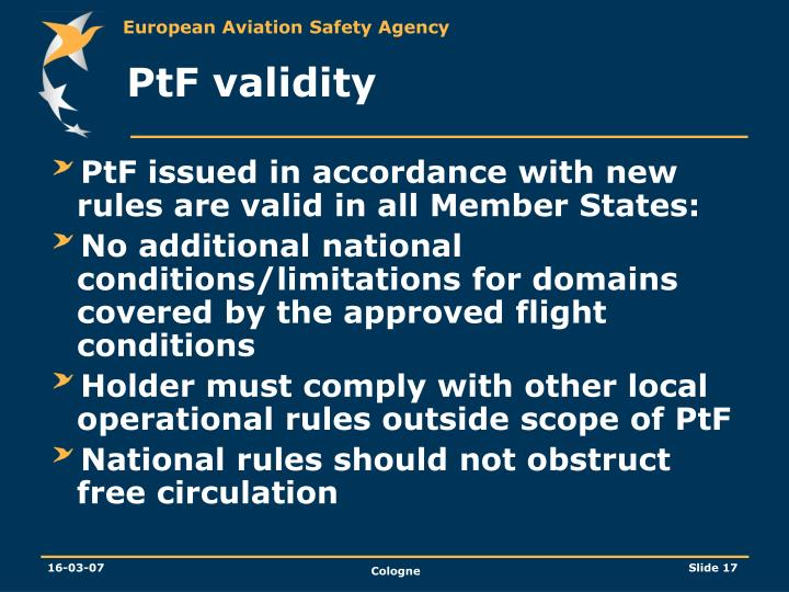 PtF validity