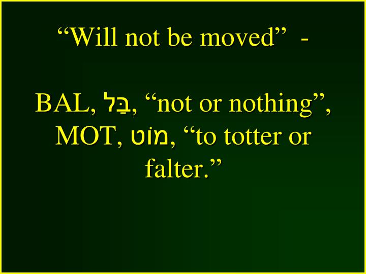 """""""Will not be moved""""  -"""