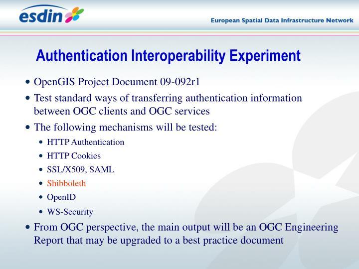 Authentication Interoperability Experiment