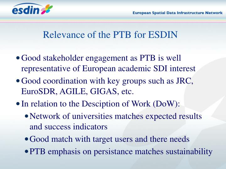 Relevance of the PTB for ESDIN