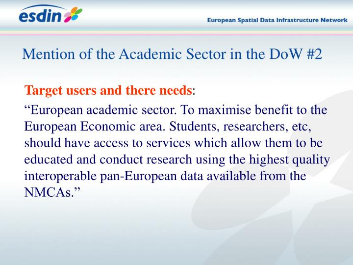 Mention of the Academic Sector in the DoW #2