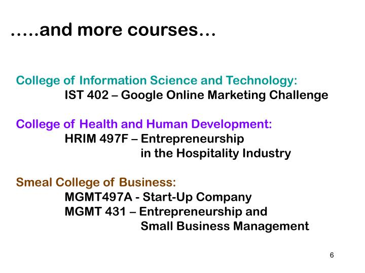 …..and more courses…