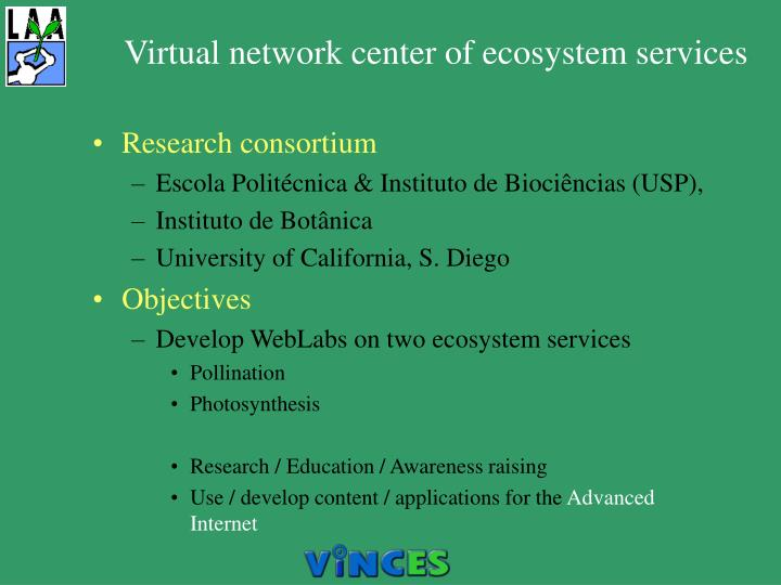 Virtual network center of ecosystem services