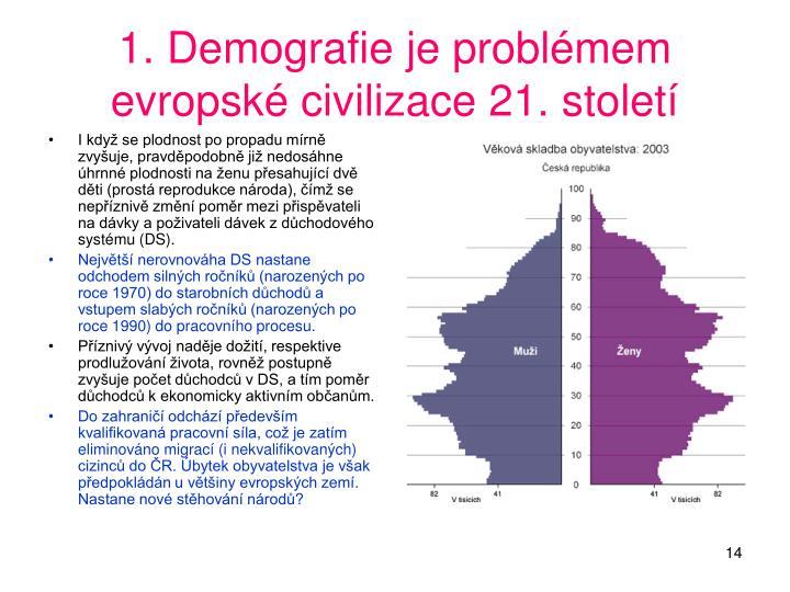 1. Demografie je problémem evropské civilizace 21. století