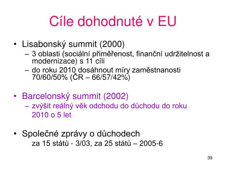 Cíle dohodnuté v EU