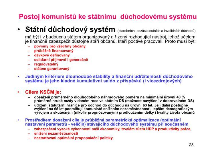 Postoj komunistů ke státnímu  důchodovému systému