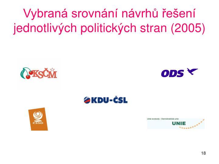 Vybraná srovnání návrhů řešení jednotlivých politických stran (2005)