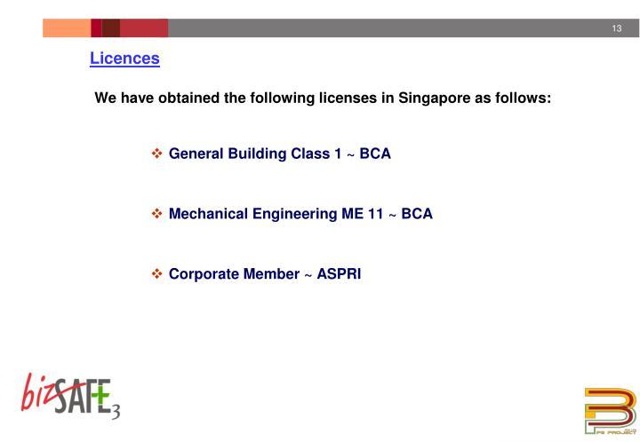 Licences