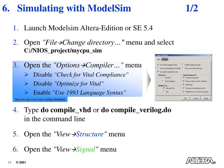 Simulating with ModelSim	1/2