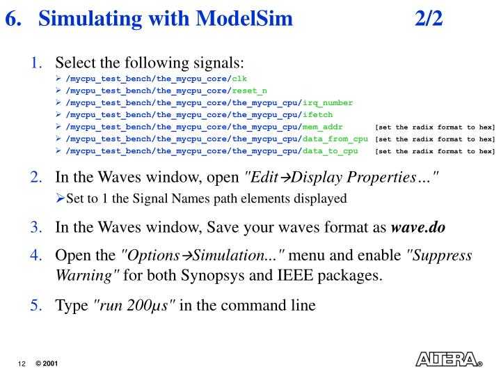 Simulating with ModelSim	2/2