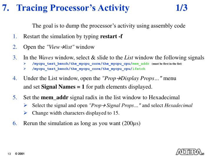 Tracing Processor's Activity 	1/