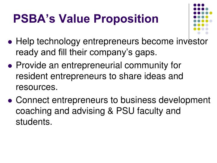 PSBA's Value Proposition
