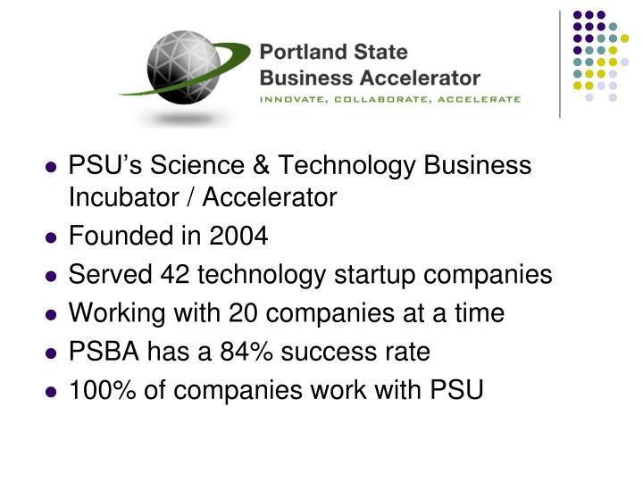 PSU's Science & Technology Business Incubator / Accelerator