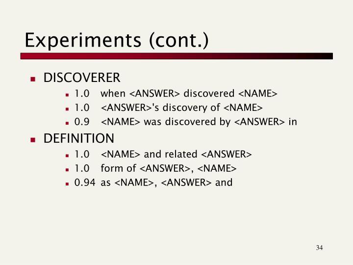 Experiments (cont.)