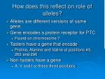 how does this reflect on role of alleles
