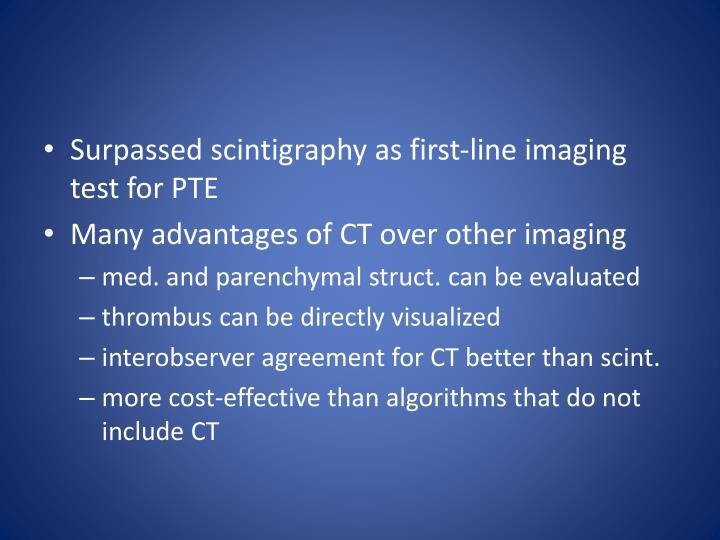 Surpassed scintigraphy as first-line imaging test for PTE