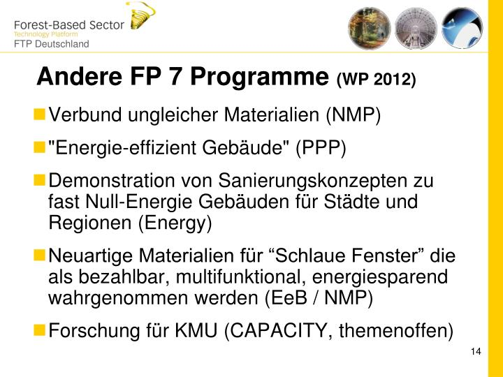 Andere FP 7 Programme