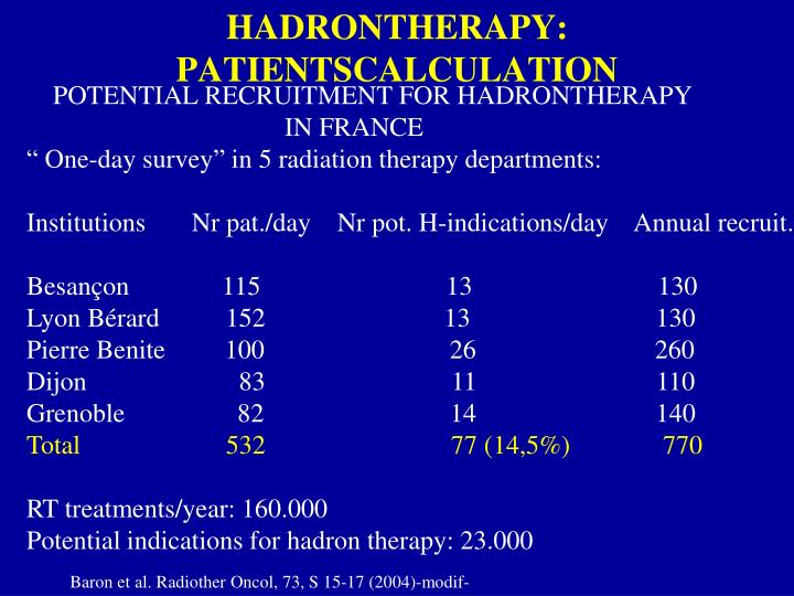HADRONTHERAPY: PATIENTSCALCULATION