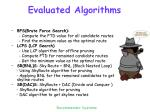 evaluated algorithms