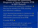 understand the differential diagnosis of smear negative ptb in hiv patients