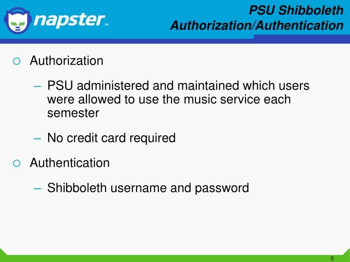 PSU Shibboleth Authorization/Authentication