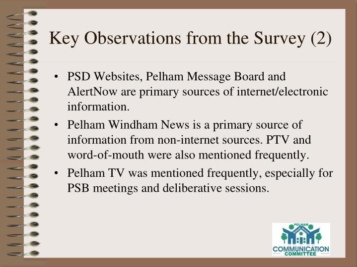 Key Observations from the Survey (2)