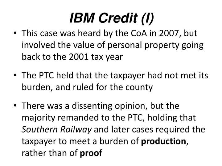 IBM Credit (I)