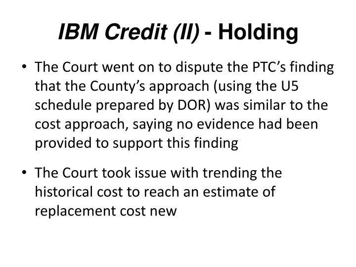 IBM Credit (II)