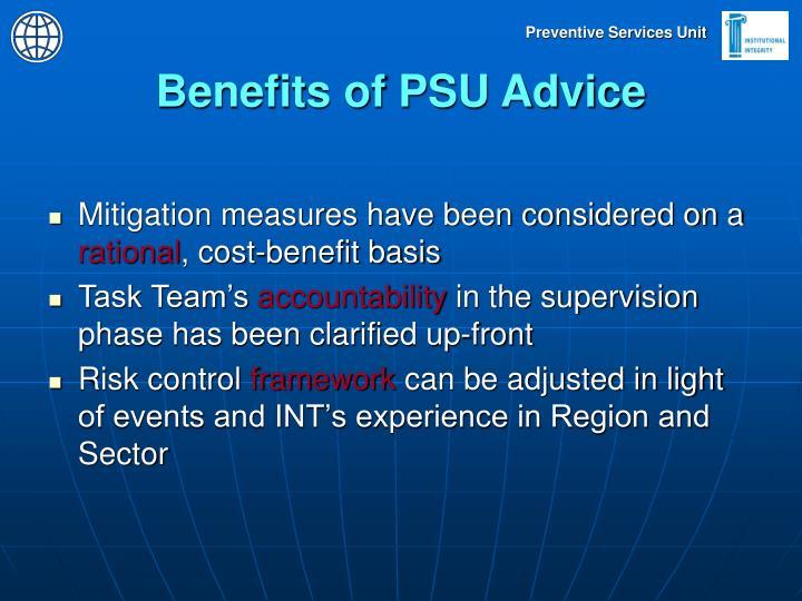 Benefits of PSU Advice