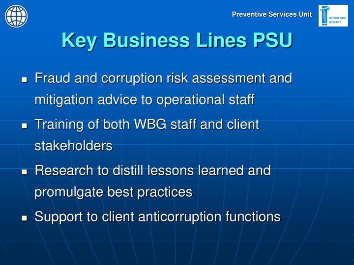 Key Business Lines PSU