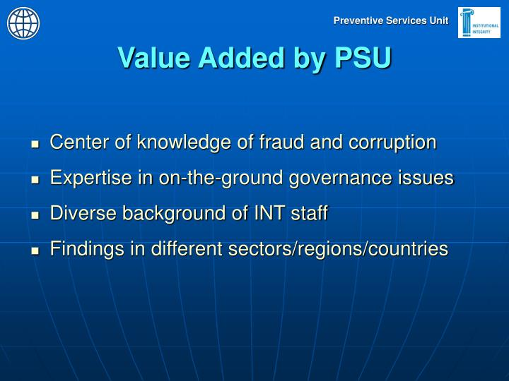 Value Added by PSU