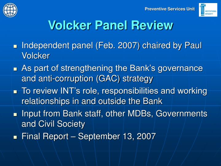 Volcker Panel Review