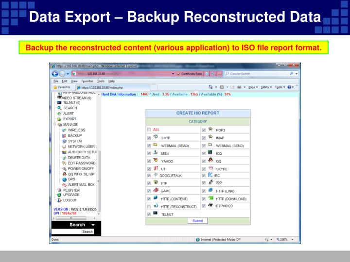 Data Export – Backup Reconstructed Data