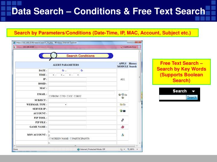Data Search – Conditions & Free Text Search