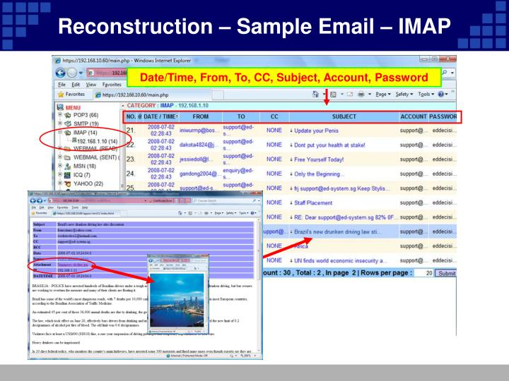 Reconstruction – Sample Email – IMAP