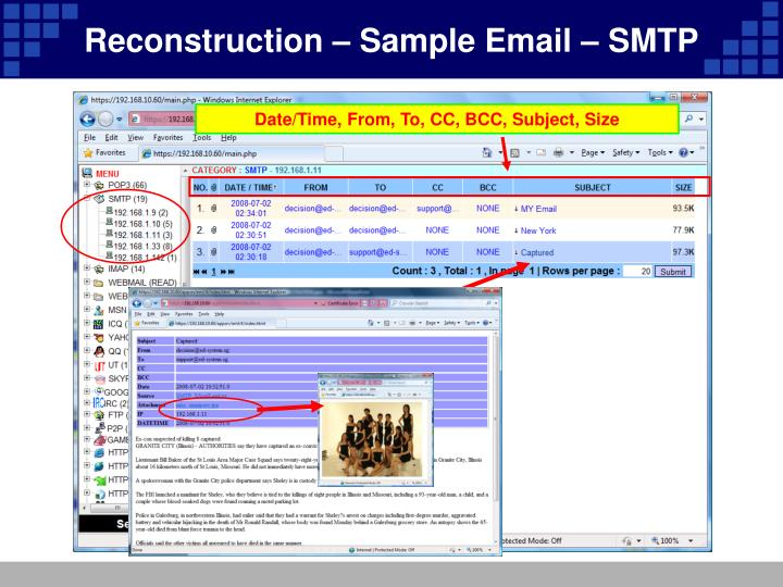 Reconstruction – Sample Email – SMTP
