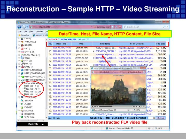 Reconstruction – Sample HTTP – Video Streaming