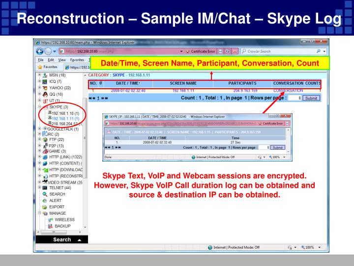 Reconstruction – Sample IM/Chat – Skype Log